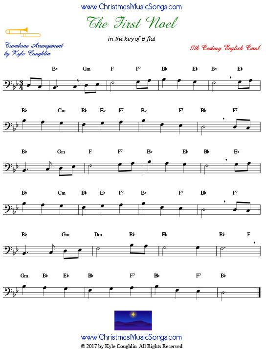 The First Noel trombone sheet music, arranged to play along with other wind, brass, and string instruments.