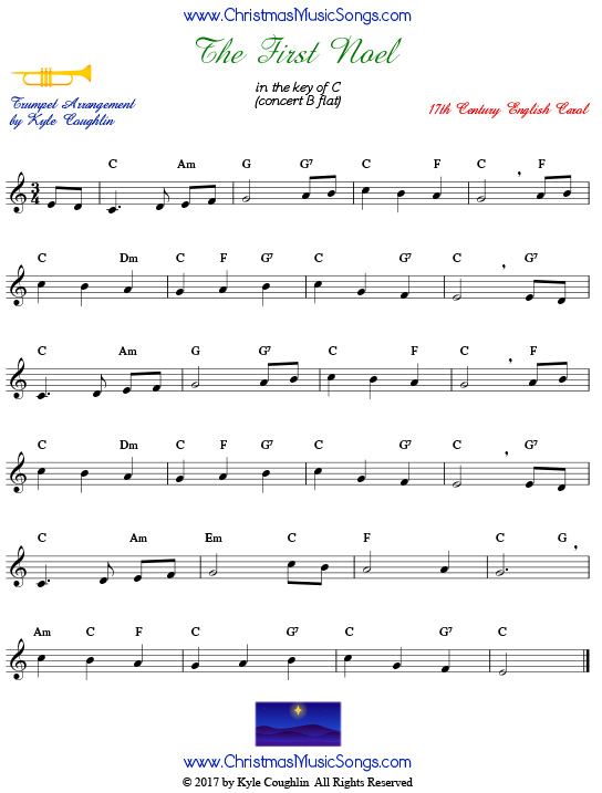 The First Noel for trumpet - free sheet music