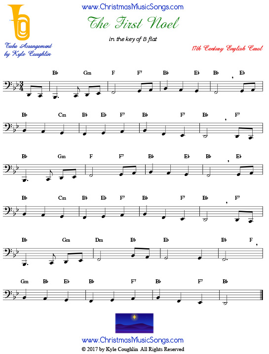 The First Noel tuba sheet music, arranged to play along with other wind, brass, and string instruments.