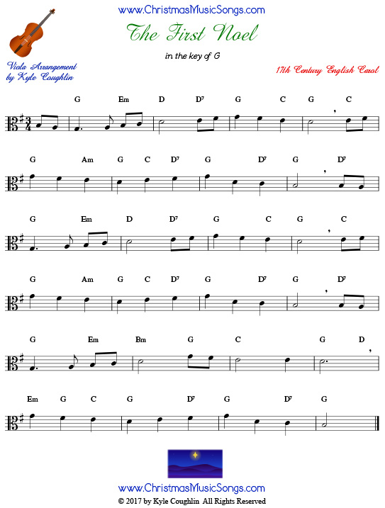 The First Noel for viola, arranged to play along with strings, woodwinds, and brass.