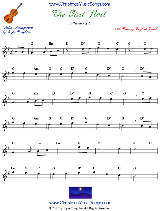 The First Noel for violin, arranged to play along with strings, woodwinds, and brass.