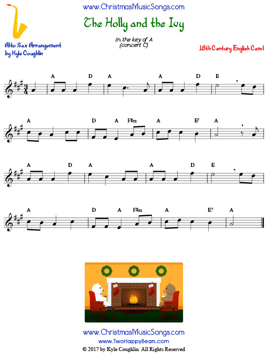The Holly And The Ivy for Alto Saxophone - Free Sheet Music