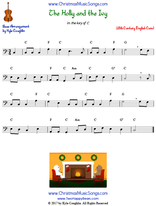 The Holly and the Ivy for bass, arranged to play along with strings, woodwinds, and brass.