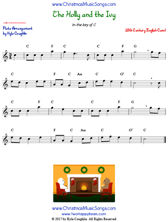 The Holly and the Ivy flute sheet music, arranged to play along with other wind, brass, and string instruments.