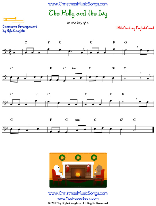 The Holly and the Ivy trombone sheet music, arranged to play along with other wind, brass, and string instruments.