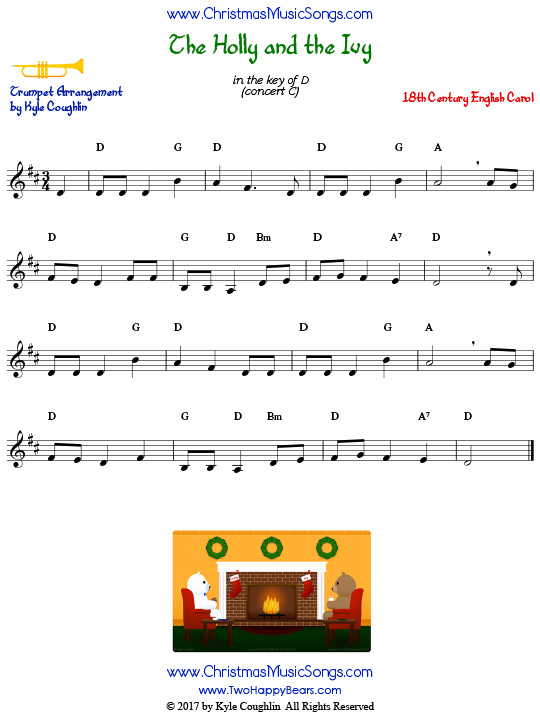 The Holly and the Ivy trumpet sheet music solo.