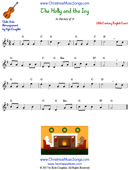 The Holly and the Ivy violin sheet music solo.