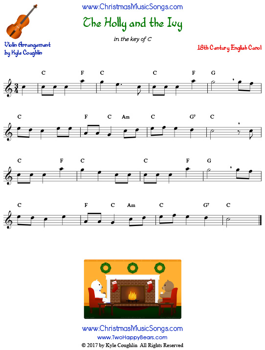 The Holly and the Ivy for violin, arranged to play along with strings, woodwinds, and brass.