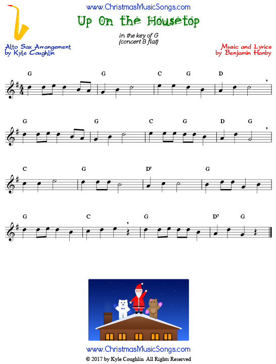 Up On the Housetop alto saxophone sheet music, arranged to play along with other wind and brass instruments.