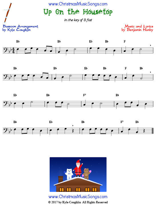Up On the Housetop bassoon sheet music, arranged to play along with other wind and brass instruments.