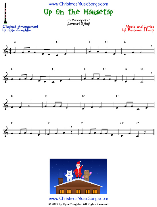 Up On the Housetop clarinet sheet music, arranged to play along with other wind and brass instruments.