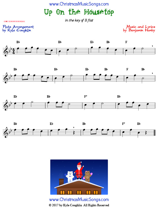 Up On the Housetop flute sheet music, arranged to play along with other wind and brass instruments.