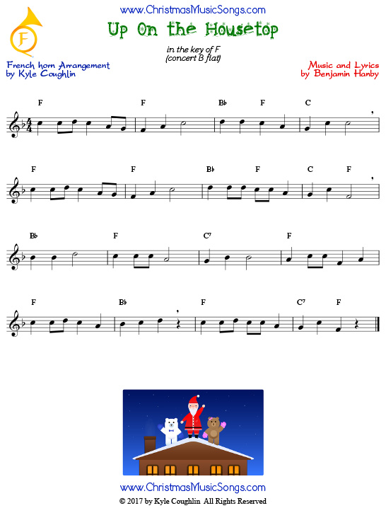 Up On the Housetop French horn sheet music, arranged to play along with other wind and brass instruments.
