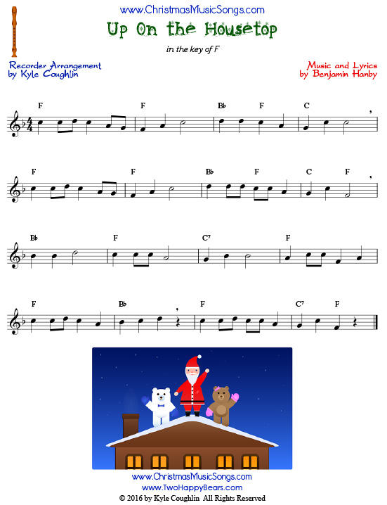 Up on the housetop for recorder free sheet music for House music songs