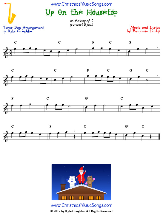 Up On the Housetop tenor saxophone sheet music, arranged to play along with other wind and brass instruments.