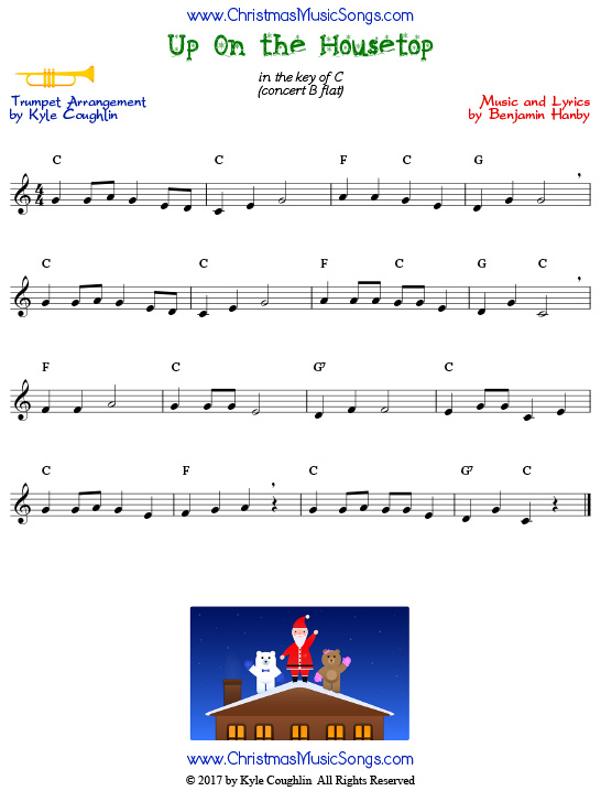 Up On the Housetop trumpet sheet music, arranged to play along with other wind and brass instruments.