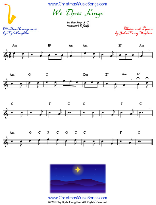 We Three Kings alto saxophone sheet music, arranged to play along with other wind and brass instruments.