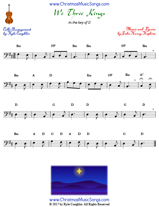 We Three Kings for cello, arranged to play along with strings, woodwinds, and brass.