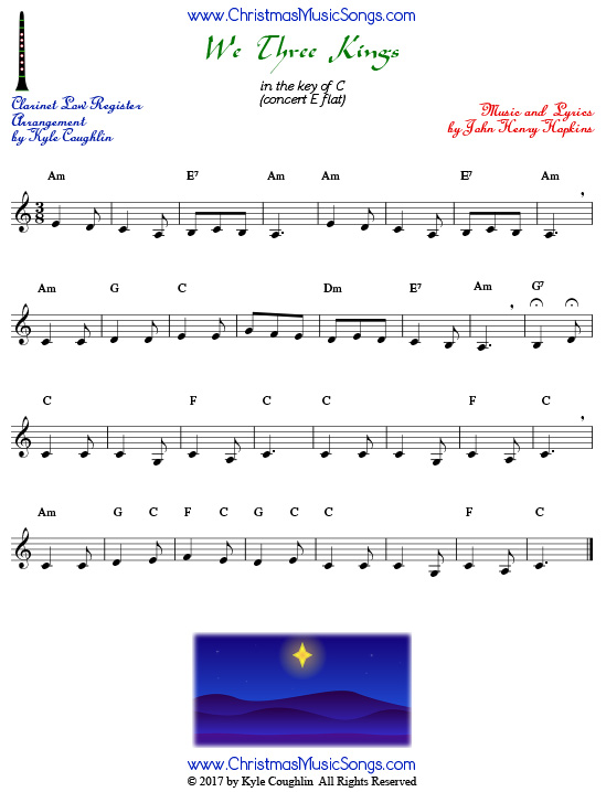 Lower register version of We Three Kings for clarinet.