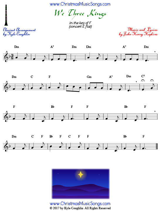 We Three Kings clarinet sheet music, arranged to play along with other wind and brass instruments.