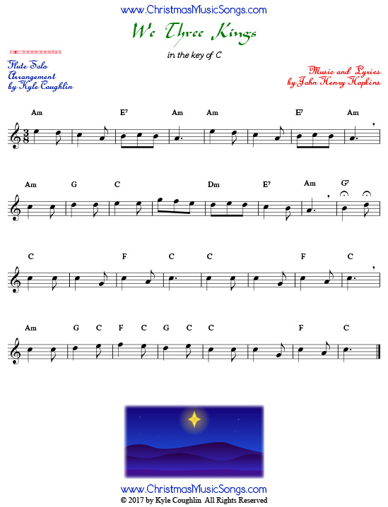 We Three Kings sheet music for solo flute.