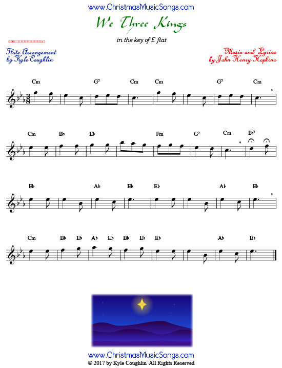 We Three Kings flute sheet music, arranged to play along with other wind and brass instruments.