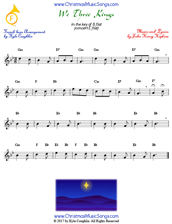 We Three Kings French horn sheet music, arranged to play along with other wind and brass instruments.