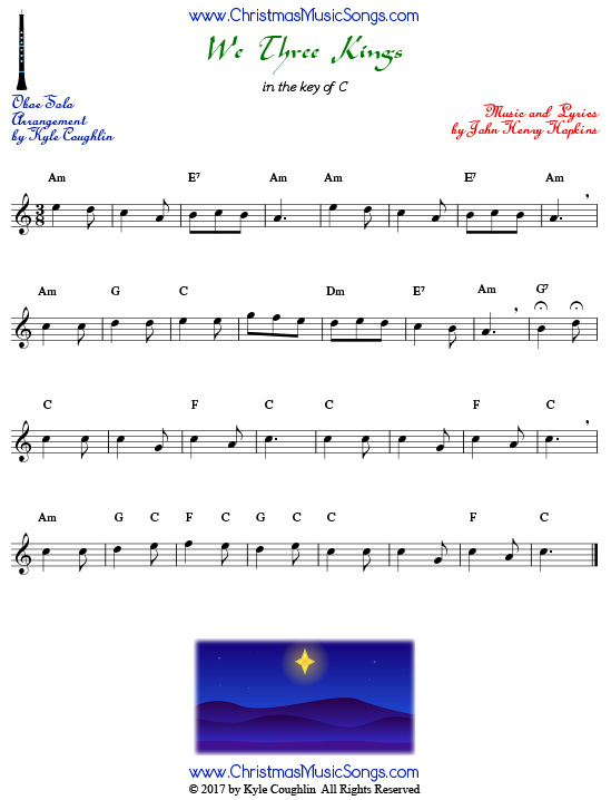 We Three Kings sheet music for solo oboe.