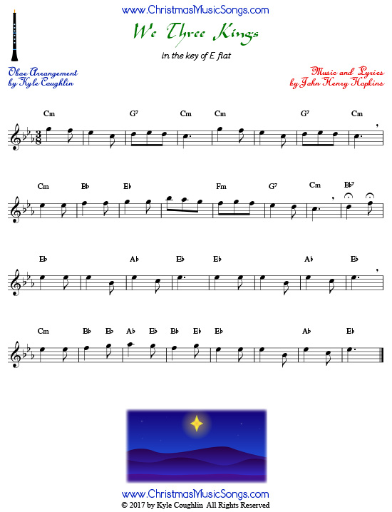 We Three Kings oboe sheet music, arranged to play along with other wind and brass instruments.
