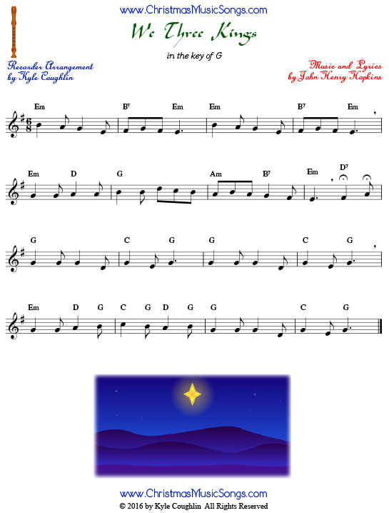 The Christmas carol We Three Kings for recorder in the key of G.