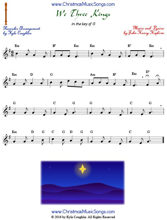 picture regarding We Three Kings Lyrics Printable identify We A few Kings for recorder - totally free sheet new music