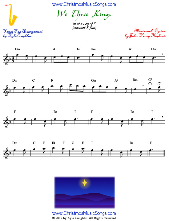 We Three Kings tenor saxophone sheet music, arranged to play along with other wind and brass instruments.