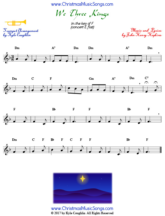 We Three Kings trumpet sheet music, arranged to play along with other wind and brass instruments.