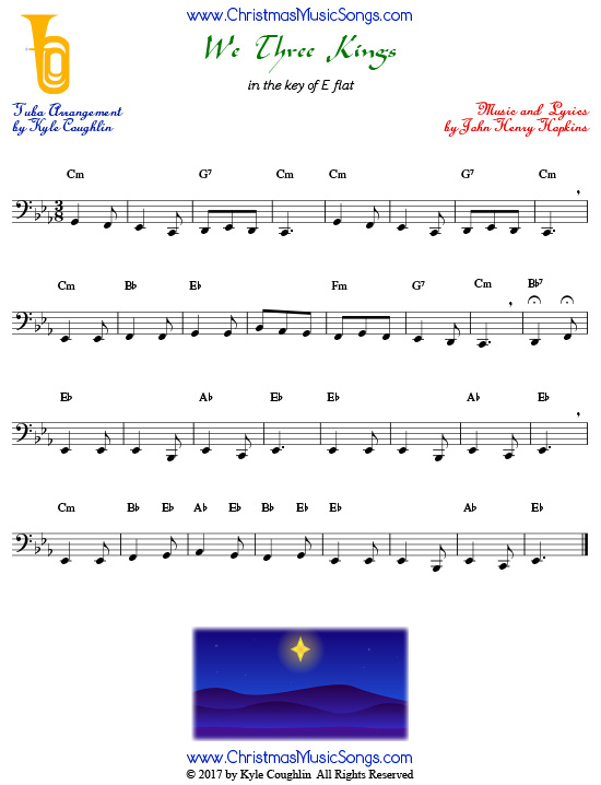 We Three Kings tuba sheet music, arranged to play along with other wind and brass instruments.