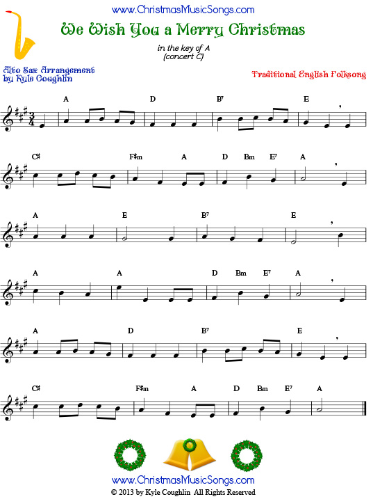 The Christmas carol We Wish You a Merry Christmas, arranged for alto saxophone to play along with other wind, brass, and string instruments.