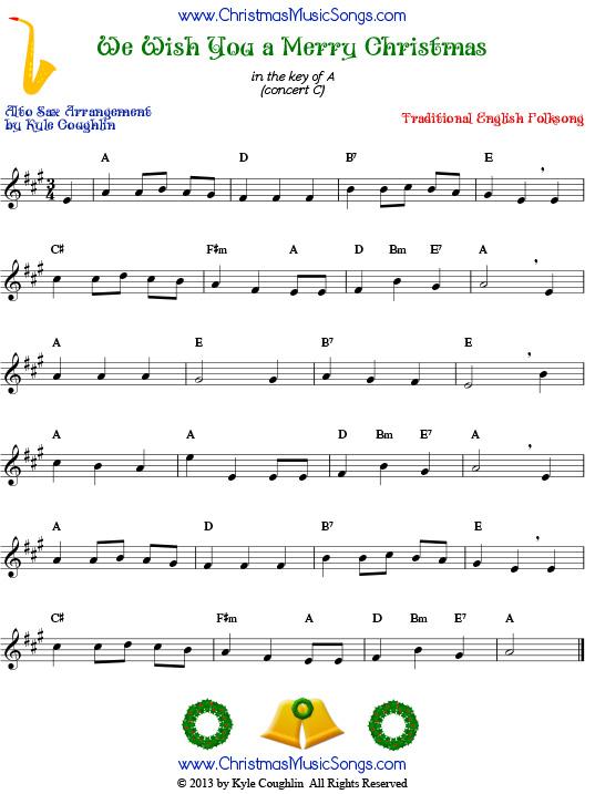 The Christmas carol We Wish You a Merry Christmas, arranged for alto ...