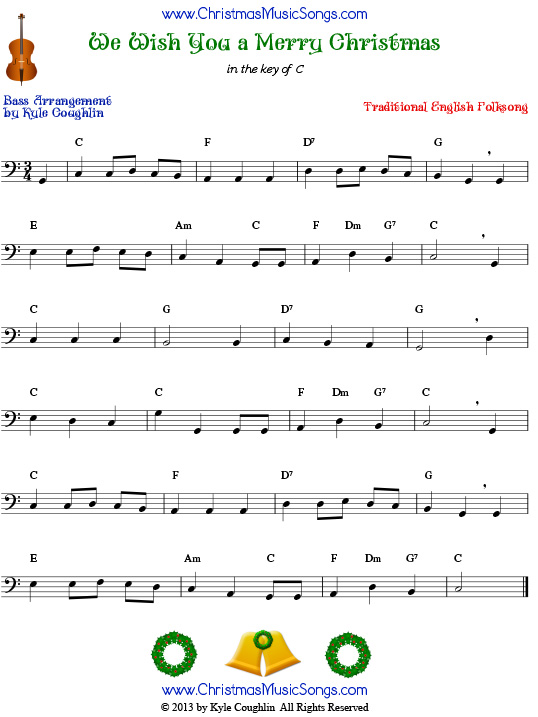 The Christmas carol We Wish You a Merry Christmas, arranged for bass to play along with strings, woodwinds, and brass.