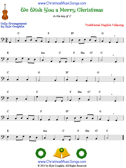 Piano piano tabs we wish you merry christmas : We Wish You a Merry Christmas for cello - free sheet music