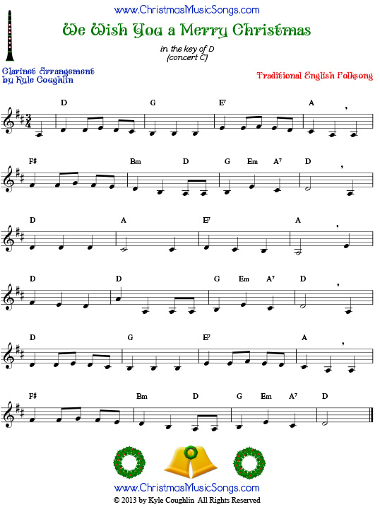 Play Christmas Music.We Wish You A Merry Christmas For Clarinet Free Sheet Music