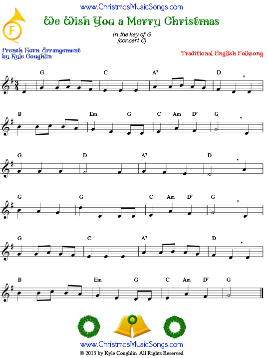The Christmas carol We Wish You a Merry Christmas, arranged for French horn to play along with other wind, brass, and string instruments.