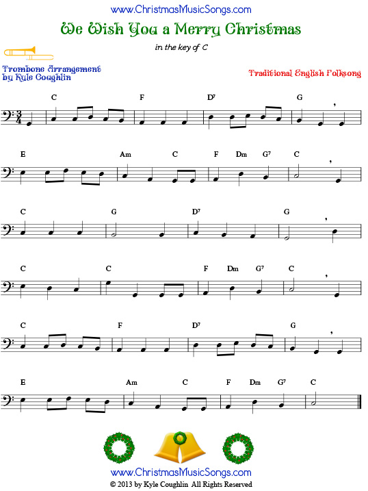 We Wish You a Merry Christmas for trombone - free sheet music