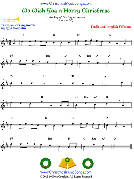 The Christmas carol We Wish You a Merry Christmas, higher version arranged for trumpet.
