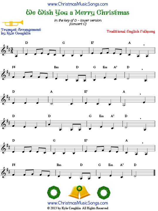 The Christmas carol We Wish You a Merry Christmas, arranged for trumpet to play along with other wind, brass, and string instruments.