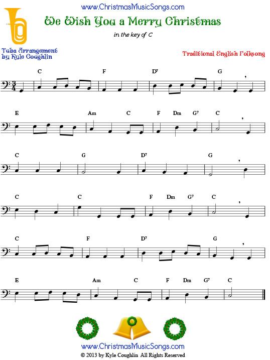 We Wish You a Merry Christmas for tuba - free sheet music
