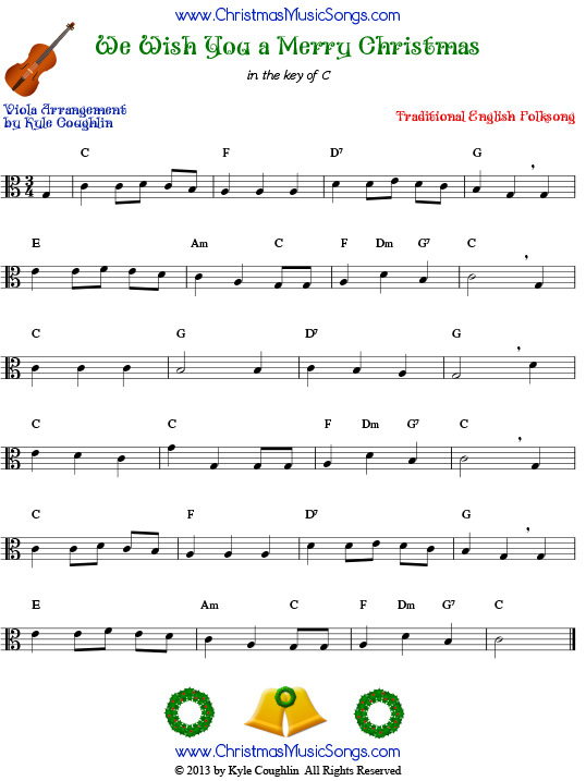 photo about Lyrics to We Wish You a Merry Christmas Printable named We Desire Your self a Merry Xmas for viola - no cost sheet tunes