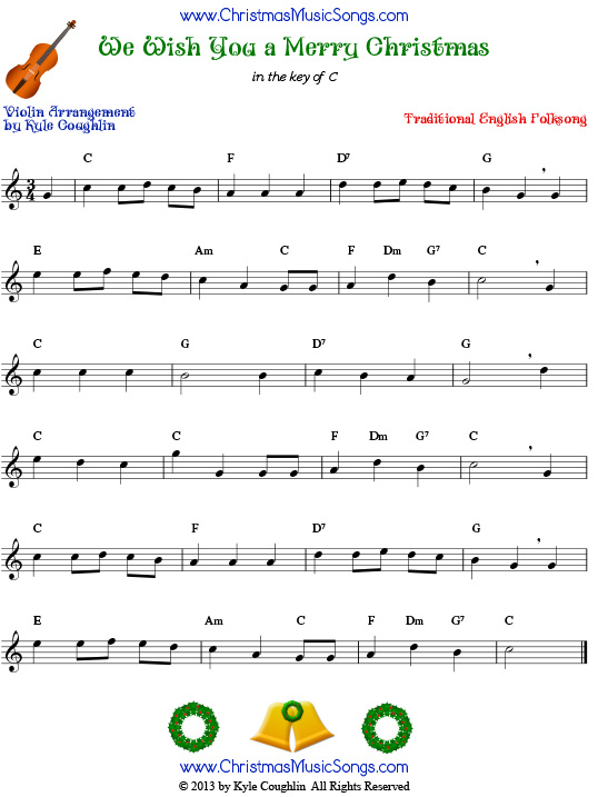 The Christmas carol We Wish You a Merry Christmas, arranged for violin to play along with other string and band instruments.