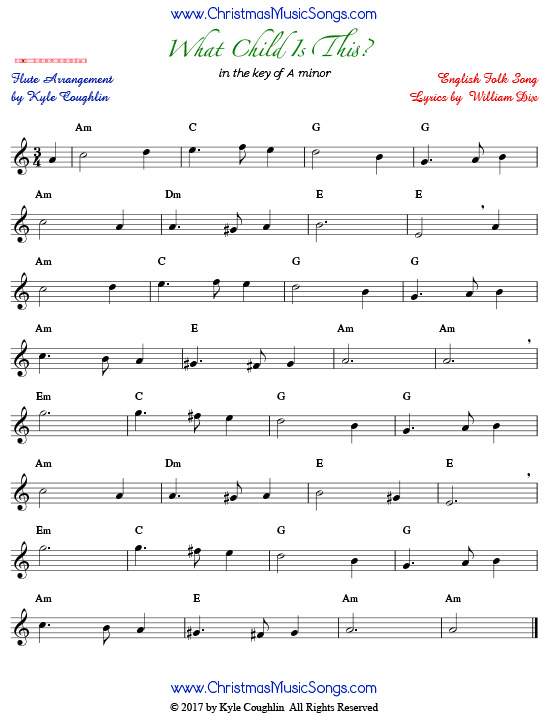 graphic regarding Free Printable Flute Sheet Music named What Boy or girl Is This? for Flute - Free of charge Sheet Tunes