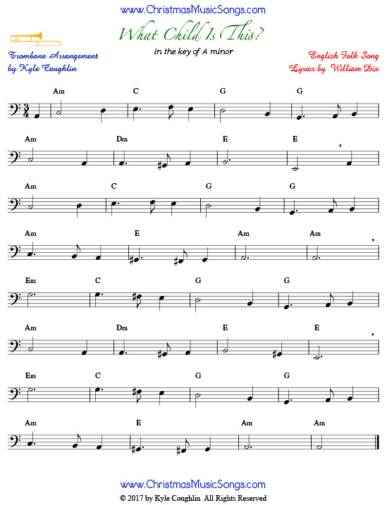 What Child Is This? trombone sheet music, arranged to play along with other wind and brass instruments.