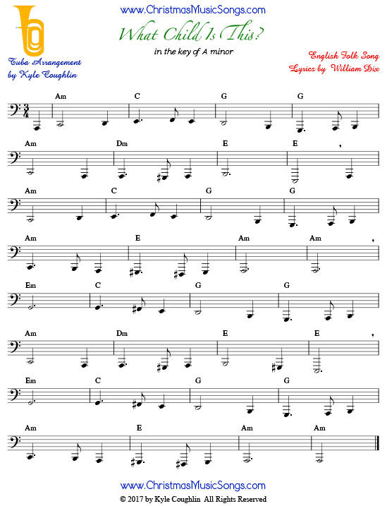 What Child Is This? tuba sheet music, arranged to play along with other wind and brass instruments.