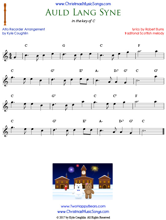 Auld Lang Syne, arranged for alto recorder in the key of C.